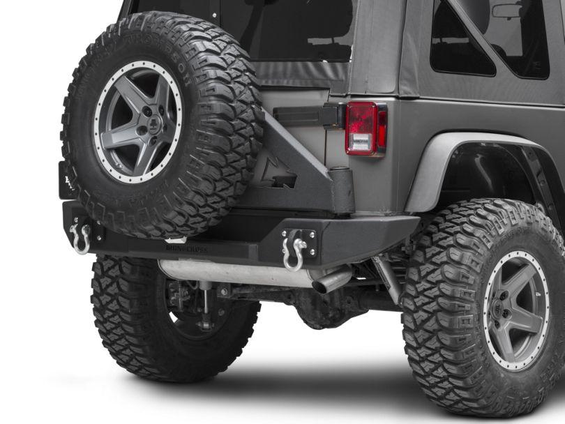 Iron Cross Full Rear Bumper with Tire Carrier; Matte Black (07-18 Jeep Wrangler JK)