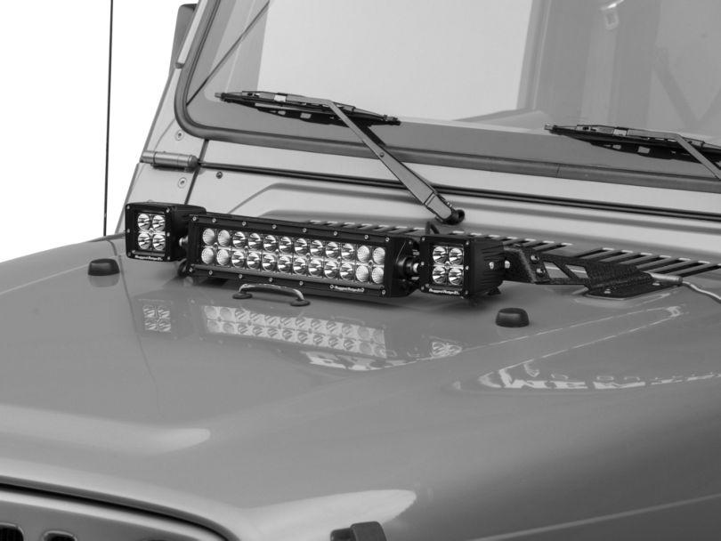 Rugged Ridge 13.50-Inch LED Light Bar and 3-Inch Square LED Lights with Hood Mounted Light Bar (97-06 Jeep Wrangler TJ)