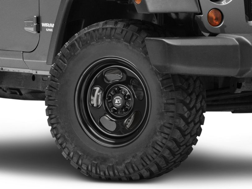 Rugged Ridge Trail Runner Classic Black Steel Wheel with Center Cap; 17x9 (07-18 Jeep Wrangler JK)