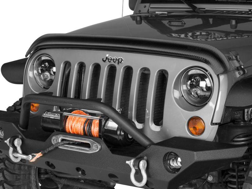 Rugged Ridge Hood Bug Deflector; Carbon Fiber Finish (07-18 Jeep Wrangler JK)