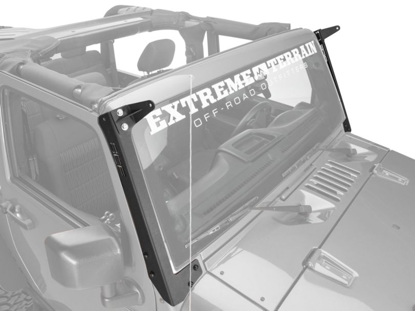 Off Camber Fabrications by MBRP Single 50-Inch LED Light Bar Formed Windshield Mounting Brackets (07-18 Jeep Wrangler JK)