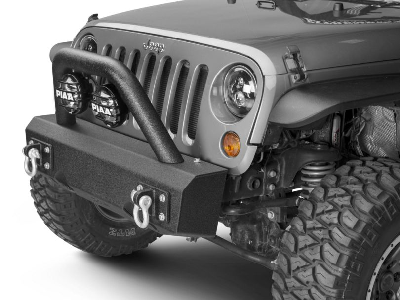 Off Camber Fabrications by MBRP Stubby Front Non-Winch Bumper Package - LineX Coated (07-18 Jeep Wrangler JK)