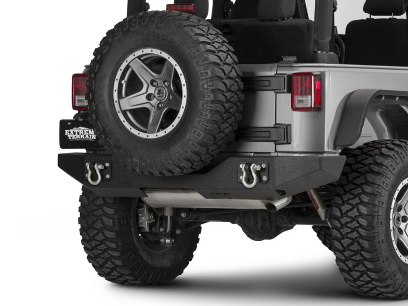 Off Camber Fabrications by MBRP Rear Full Width Bumper; LineX Coated (07-18 Jeep Wrangler JK)