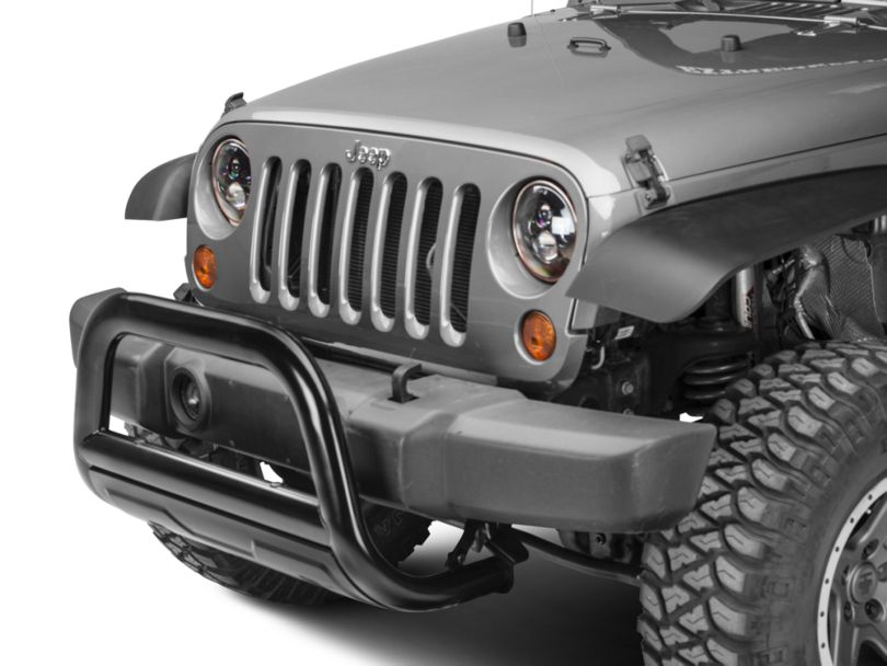 Barricade 3.5 in. Oval Bull Bar w/ Formed Skid Plate - Black (10-18 Jeep Wrangler JK)