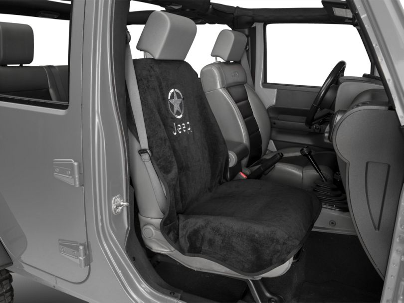 Seat Cover with Jeep Logo and Star; Black (87-20 Jeep Wrangler YJ, TJ, JK & JL)