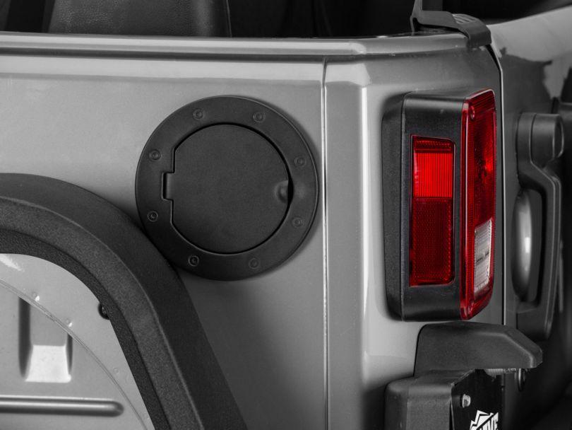 Rugged Ridge Non-Locking Gas Cap Door - Textured Black (07-18 Jeep Wrangler JK)