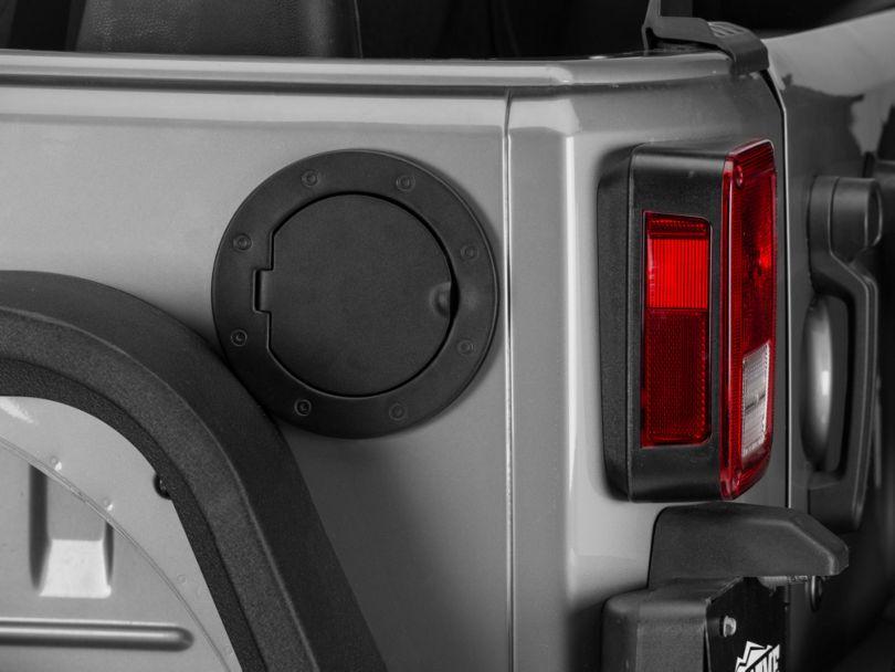 Rugged Ridge Locking Fuel Door Cover; Textured Black (07-18 Jeep Wrangler JK)
