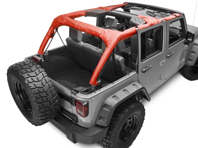 Dirty Dog 4x4 Roll Bar Covers; Red (07-18 Jeep Wrangler JK 4 Door)