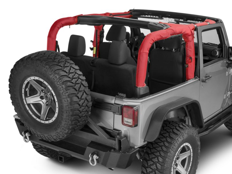 Dirty Dog 4x4 Roll Bar Covers; Red (07-18 Jeep Wrangler JK 2 Door)