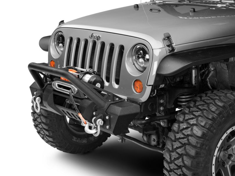 RedRock 4x4 Stubby HD Pre-Runner Winch Front Bumper with Light Bar Tabs (07-18 Jeep Wrangler JK)