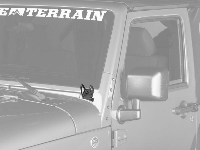 RedRock 4x4 Windshield LED Light Mount Brackets; Textured Black (07-18 Jeep Wrangler JK)