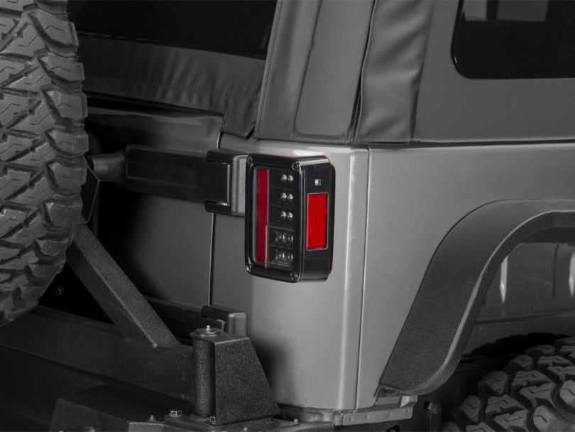 LED Tail Lights; Black (07-18 Jeep Wrangler JK)