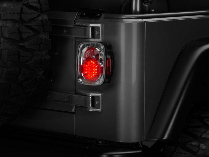 LED Tail Lights; Crystal Clear (87-06 Jeep Wrangler YJ, TJ)
