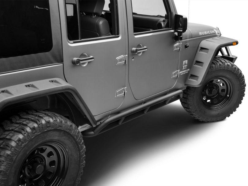 DV8 Off-Road Steel Rock Guard/Sliders; Black (07-18 Jeep Wrangler JK 4 Door)