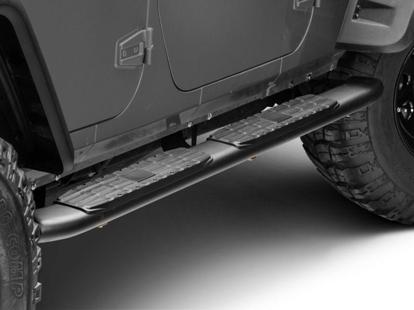 RedRock 4x4 Pinnacle Oval Bent End Side Step Bars - Textured Black (07-18 Jeep Wrangler JK 4 Door)