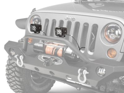 Add KC HiLiTES 3 in. C-Series C3 Amber LED Light Cube - Spot Beam - Pair (87-17 Wrangler YJ, TJ & JK)