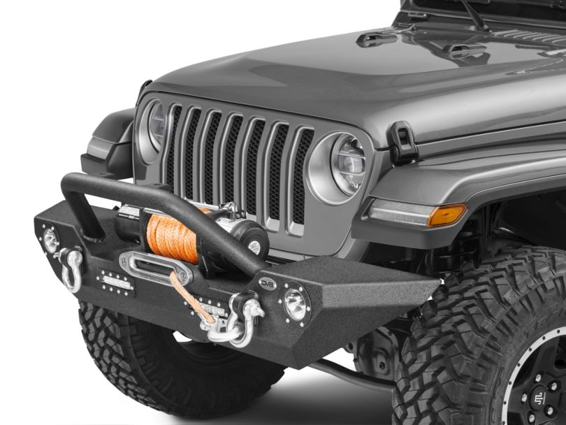 DV8 Offroad LFS-7 Steel Mid Width Front Bumper with LED Lights (18-20 Jeep Wrangler JL)
