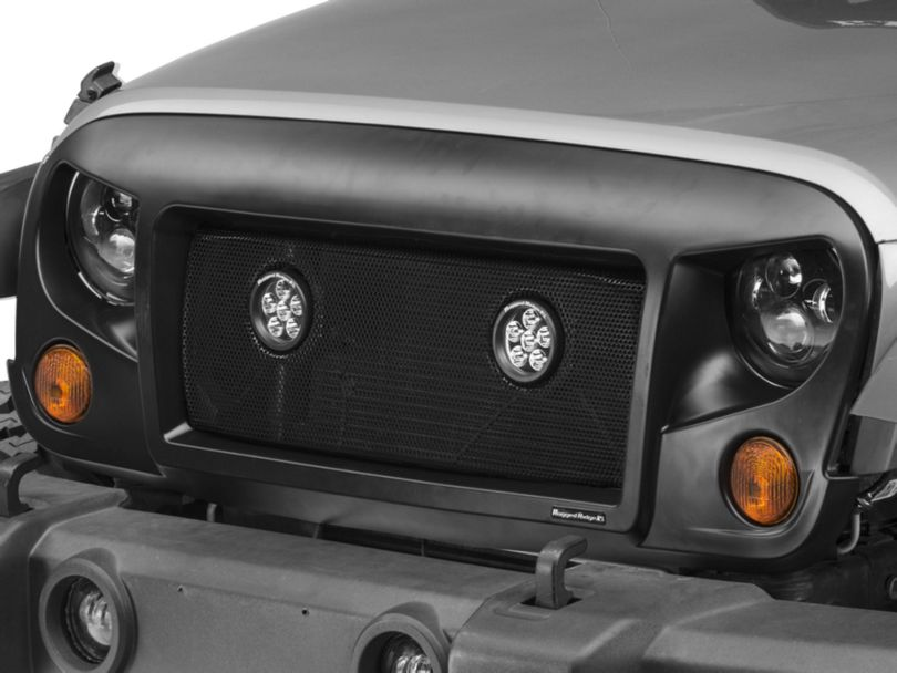 Rugged Ridge Spartan Grille with Mesh Insert and Round LED Lights; Satin Black (07-18 Jeep Wrangler JK)