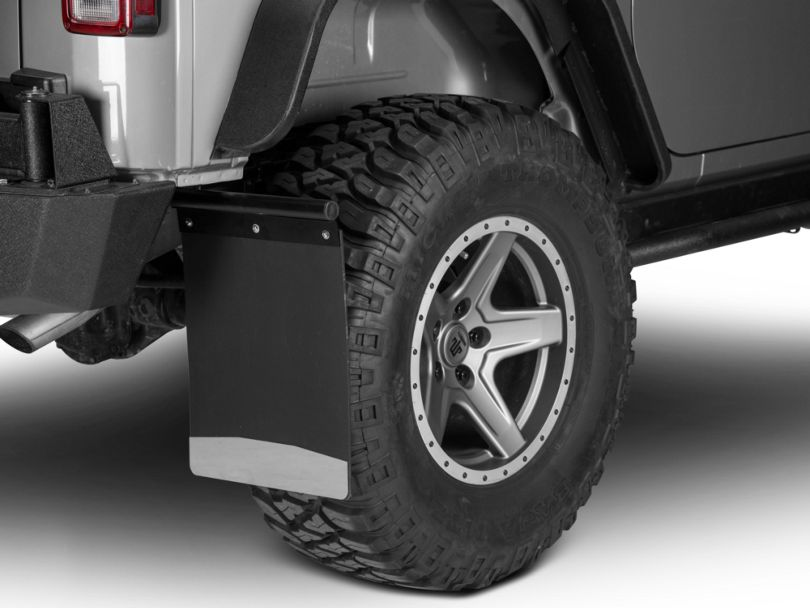 Husky Removable Pivoting Mud Flaps - Stainless Steel Weight (87-20 Jeep Wrangler YJ, TJ, JK & JL)