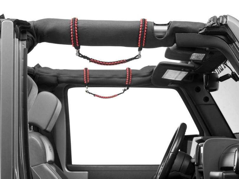 RedRock 4x4 Front Rollbar Paracord Grab Handles with D-Rings; Black and Red (07-18 Jeep Wrangler JK)