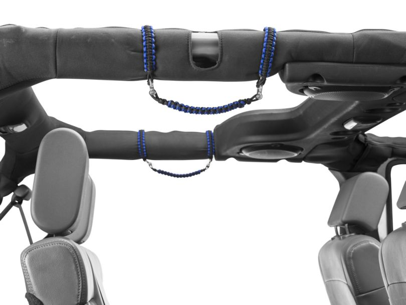 RedRock 4x4 Rear Rollbar Paracord Grab Handles with D-rings - Black and Blue (07-17 Jeep Wrangler JK 4 Door)