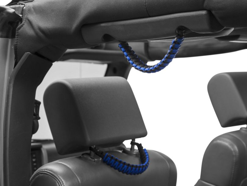 RedRock 4x4 Headrest Paracord Grab Handles - Black and Blue (07-19 Jeep Wrangler JK & JL)