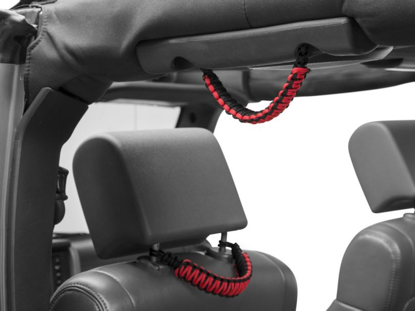RedRock 4x4 Headrest Paracord Grab Handles - Black and Red (07-20 Jeep Wrangler JK & JL)