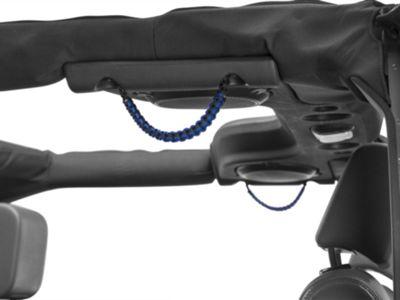 RedRock 4x4 Rear Soundbar Paracord Grab Handles - Black and Blue (07-18 Jeep Wrangler JK; 2018 Jeep Wrangler JL)