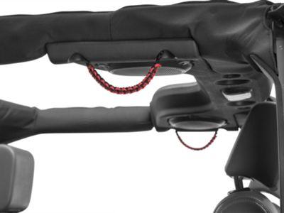 RedRock 4x4 Rear Soundbar Paracord Grab Handles - Black and Red (07-18 Jeep Wrangler JK 4 Door; 2018 Jeep Wrangler JL 4 Door)
