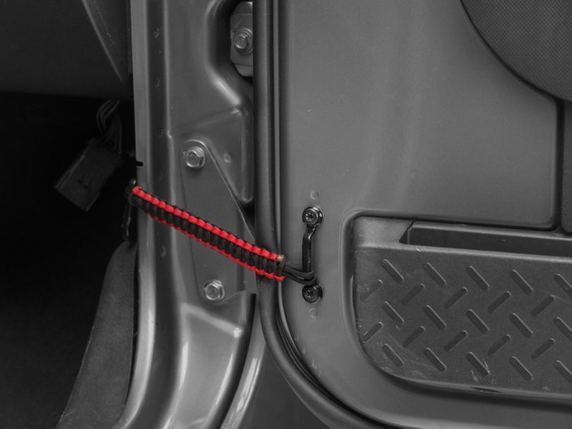 RedRock 4x4 Front Paracord Door Limit Straps - Black and Red (07-18 Jeep Wrangler JK)