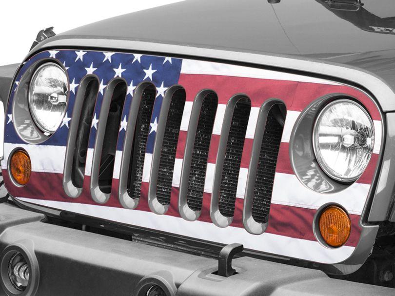 Full Color American Flag Grille Decal (07-18 Jeep Wrangler JK)
