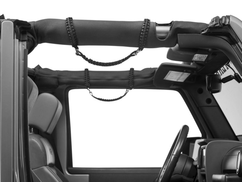 RedRock 4x4 Front Rollbar Paracord Grab Handles with D-Rings - Black (07-20 Jeep Wrangler JK & JL)