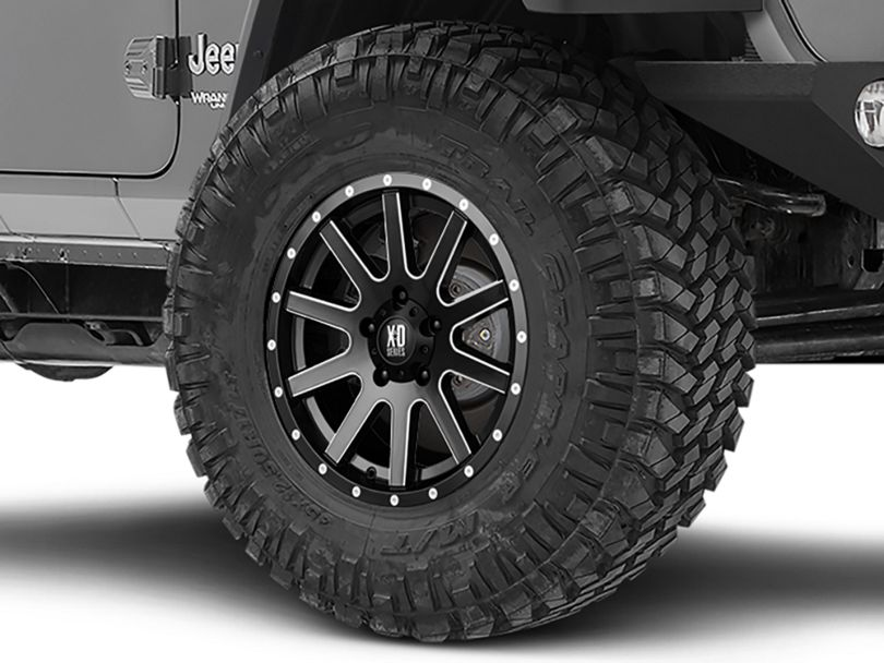 XD Heist Satin Black Milled Wheel; 17x9 (18-20 Jeep Wrangler JL)