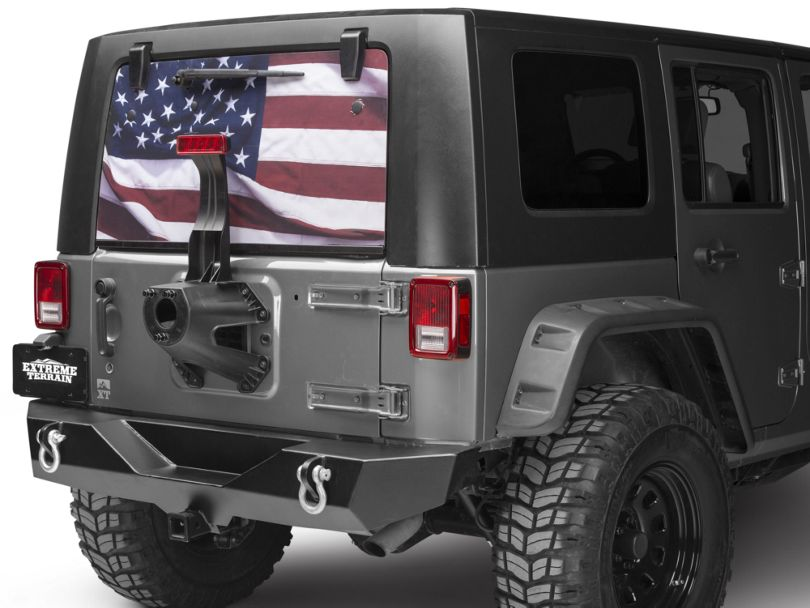 SEC10 Perforated American Flag Rear Window Decal; Full Color (07-20 Jeep Wrangler JK & JL)