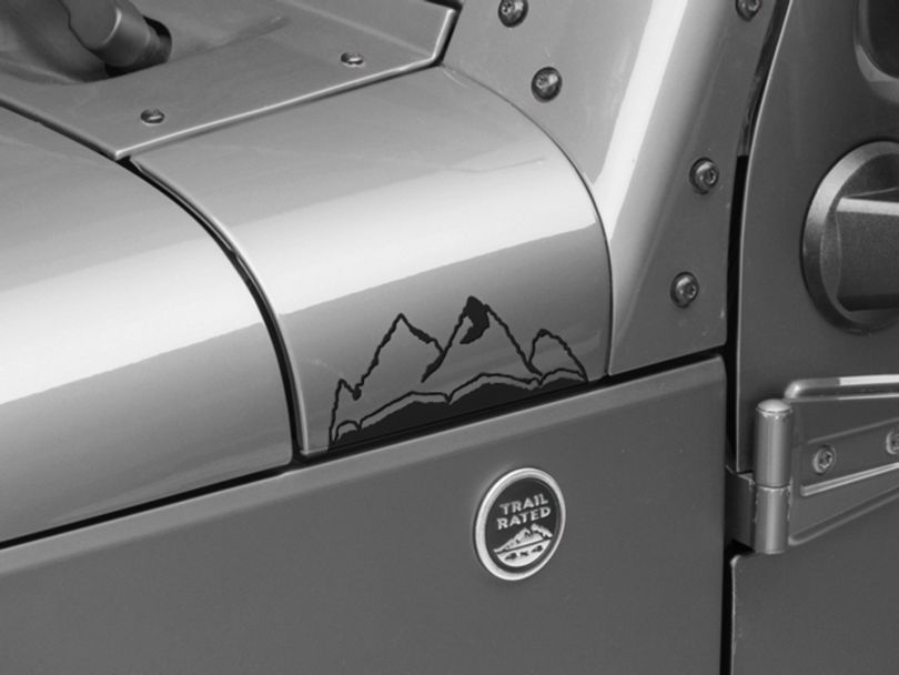 Small Mountain Graphic; Matte Black (87-20 Jeep Wrangler YJ, TJ, JK & JL)