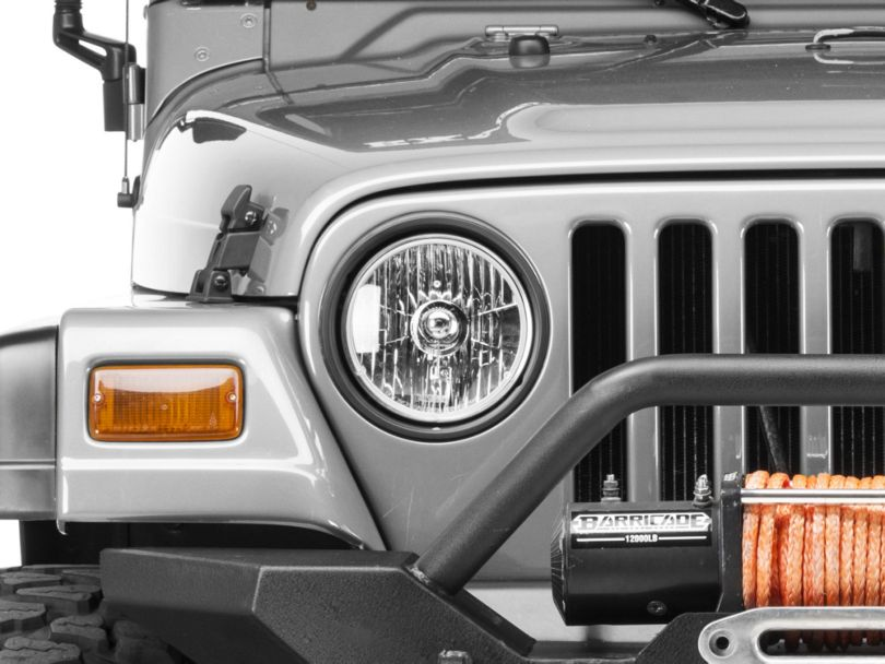 Rugged Ridge 7 in. Round Crystal H2 Conversion Headlight - Pair w/ Bulbs (97-06 Jeep Wrangler TJ)
