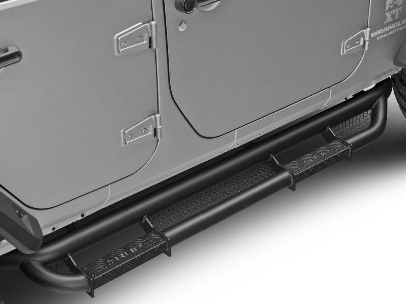 RBP RX-3 Cab Length Side Step Bars; Black (07-18 Jeep Wrangler JK 4 Door)