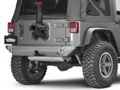 Poison Spyder BFH II Rear Bumper - Hitch Receiver Compatible - Bare Steel (07-18 Jeep Wrangler JK)