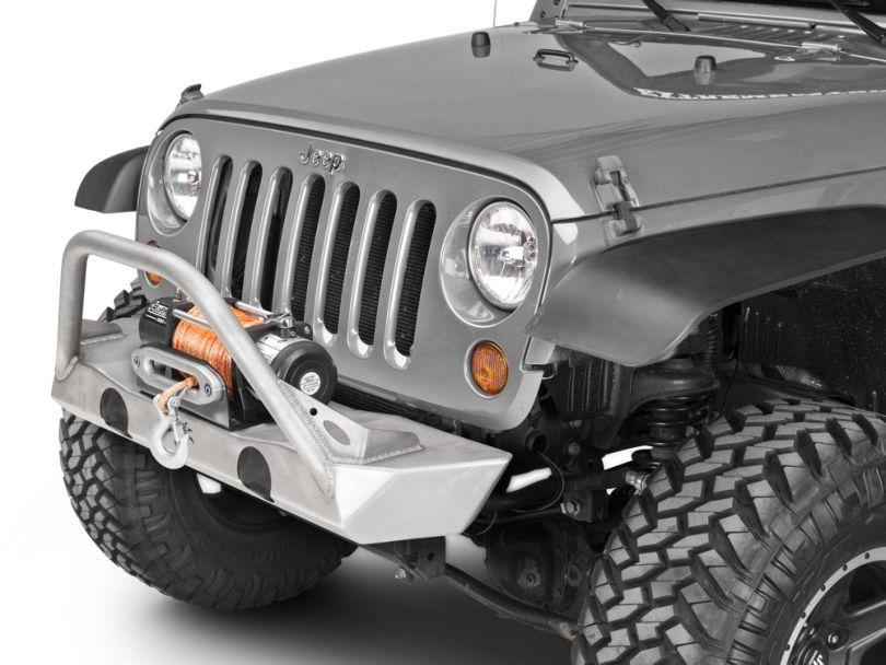 Poison Spyder Brawler Lite Front Bumper with Brawler Bar and Plate Gussets; Bare Steel (07-18 Jeep Wrangler JK)