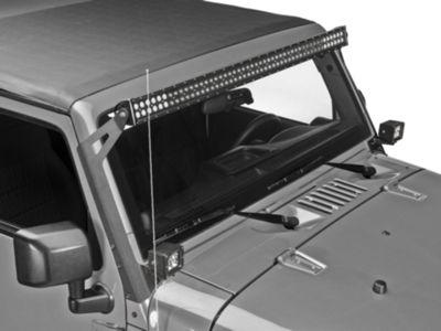 Raxiom 50 in. LED Light Bar Windshield Mount w/ Auxilliary Bracket (07-18 Jeep Wrangler JK)