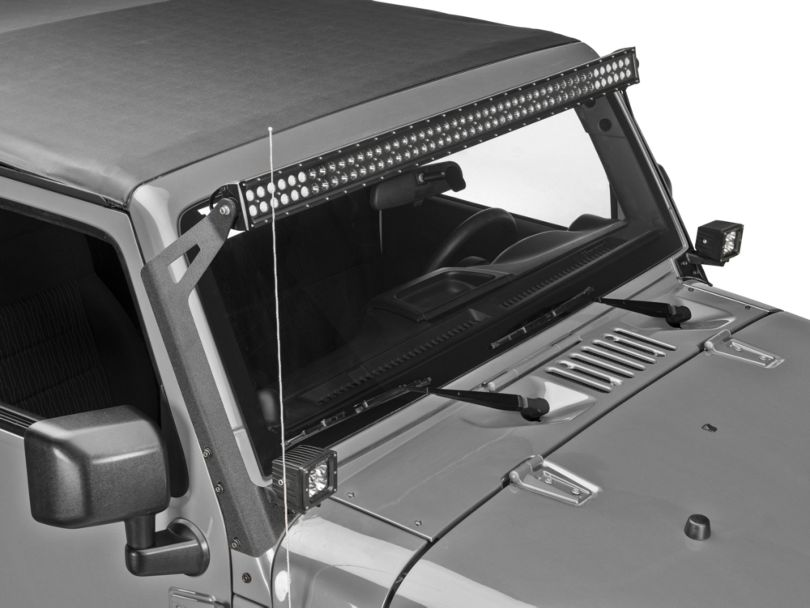 Raxiom 50-Inch LED Light Bar Windshield Mount with Auxiliary Bracket (07-18 Jeep Wrangler JK)