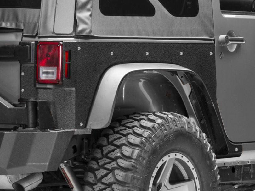Smittybilt Rear XRC Body Armor Skins - Textured Matte Black (07-18 Jeep Wrangler JK)