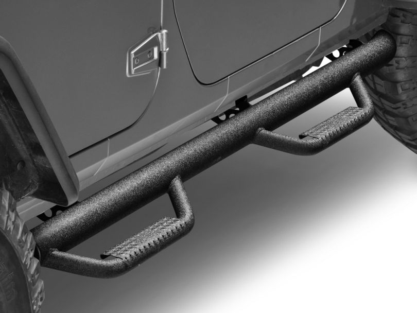 Smittybilt Nerf Side Step Bars - Textured Black (07-18 Jeep Wrangler JK 4 Door)