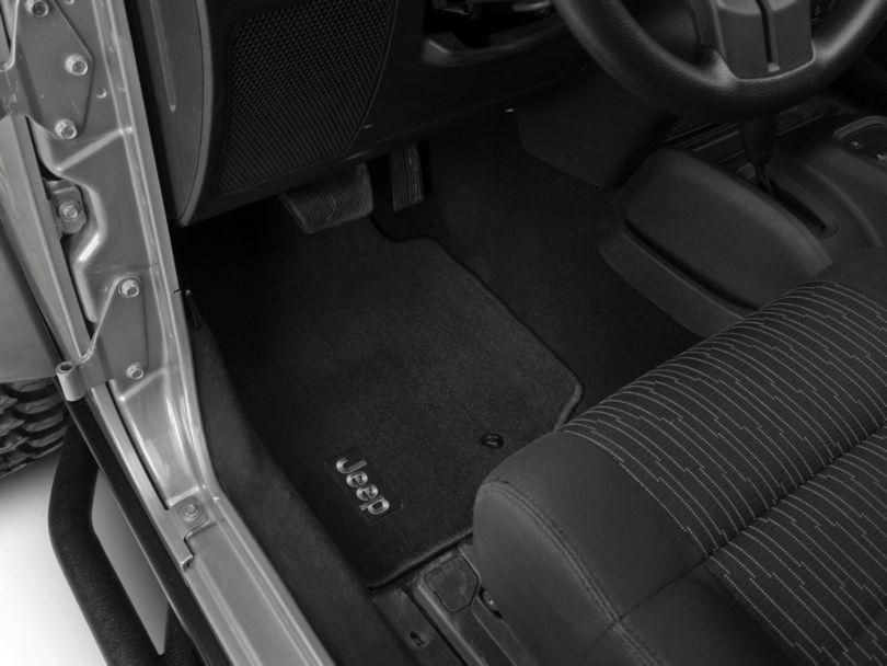 Mopar Premium Carpet Front Floor Mats with Jeep Logo; Dark Slate Gray (07-13 Jeep Wrangler JK 2 Door)