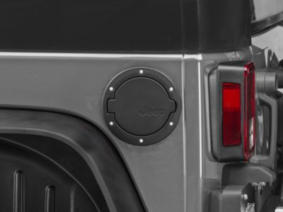 Mopar Satin Black Fuel Door w/ Jeep Logo (07-18 Jeep Wrangler JK 2 Door)