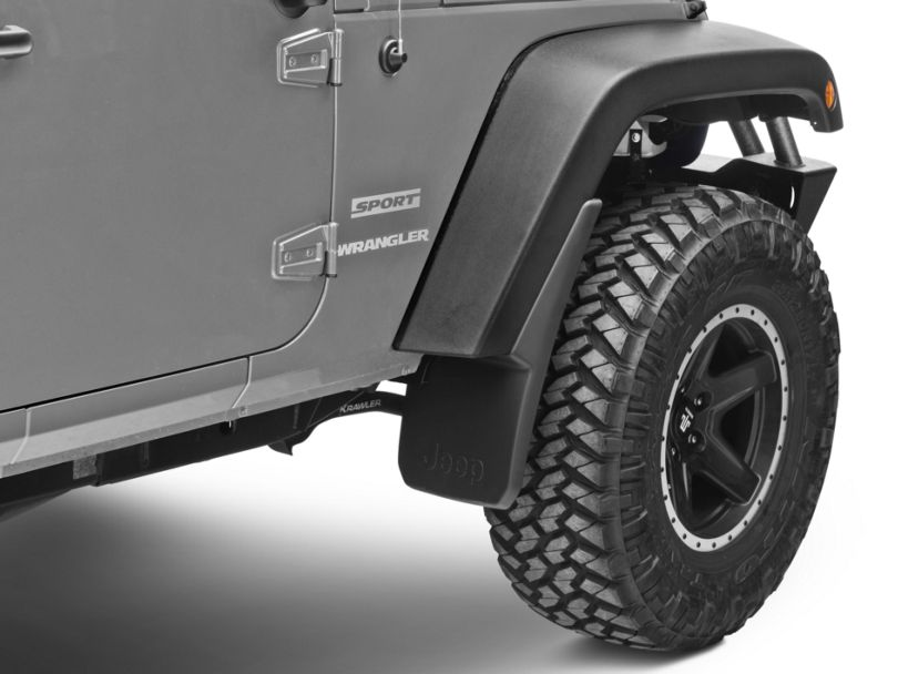 Mopar Front Deluxe Molded Splash Guards w/ Jeep Logo (07-18 Jeep Wrangler JK)