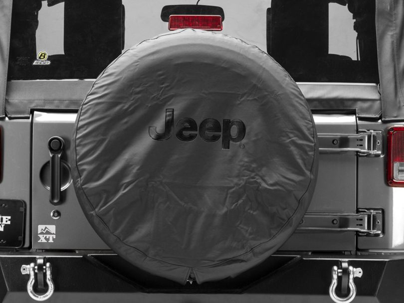 Mopar Jeep Logo Spare Tire Cover; Black Denim; 30 to 31-Inch Tire Cover (07-20 Jeep Wrangler JK & JL)