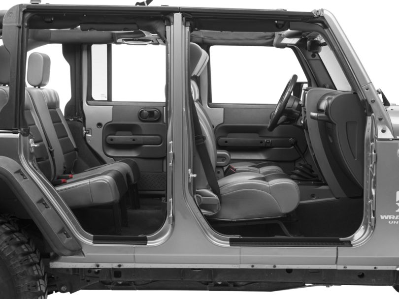 Mopar Door Sill Guards w/ Jeep Logo - Black Plastic (07-18 Jeep Wrangler JK 4 Door)