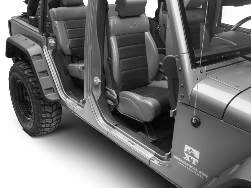 Mopar Door Sill Guards w/ Jeep Logo - Brushed Stainless (07-18 Jeep Wrangler JK 4 Door)