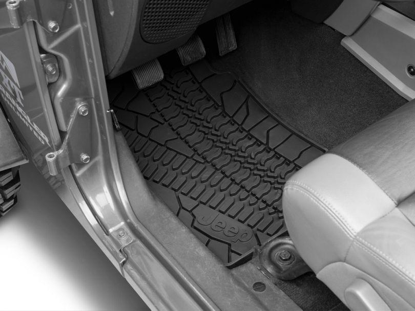 Mopar Slush All Weather Front & Rear Floor Mats w/ Jeep Logo - Dark Slate Gray (07-13 Jeep Wrangler JK 4 Door)